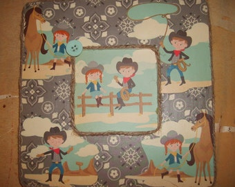 Little Cowboys and Cowgirls decoupaged picture frame