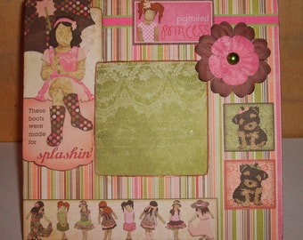 Pigtail Princess and Puppies Decoupaged Picture Frame