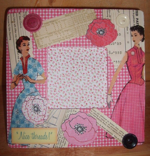 Nice Threads Sewing Themed Decoupaged Picture Frame