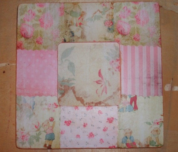 Chic Shabby Pink Roses Decoupaged Picture Frame