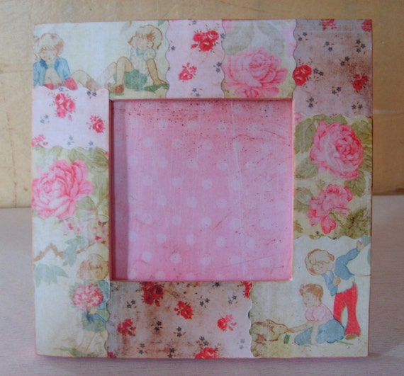 Shabby Pink Rose Decoupaged Mini Picture Frame