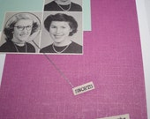 funny sassy snarky vintage yearbook photo greeting card..snorts ...when she laughs 5x7