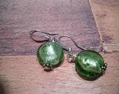pretty foiled shiny green glass bead earrings
