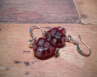 chubby red millefiori heart earrings