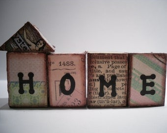 Ephemera houses ...  Wood blocks that spell out home.. vintage paper..old stamps.. funky home decor..collage mixed media art