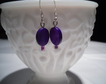 sweet little purple mother of pearl earrings