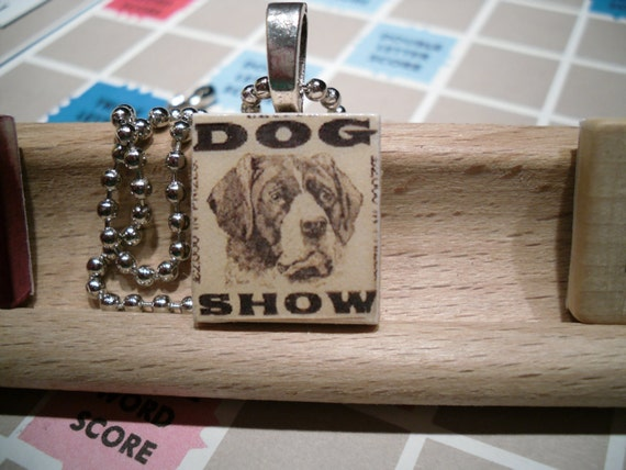 vintage dog show recycled scrabble tile necklace