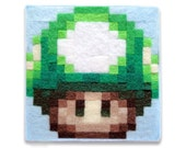 New Super Mario Bros. 1-Up Mushroom Sprite 4 x 4 Felt Collage