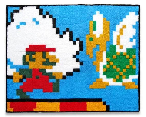 Super Mario Bros. Mario and Koopa Paratroopa, 8 x 10 Felt Collage