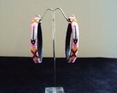 Native American beaded hoop earrings (Pink color)