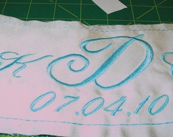 Something Blue - Bride Wedding Label  - Custom Embroidered with your NAME and DATE on Satin - Sewn inside your wedding dress