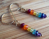 Rainbow Earrings on 14k Gold Filled, Free Shipping in the US