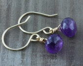 Amethyst Briolettes on 14k Gold Filled Hand Crafted Ear Wires, February Birthstone
