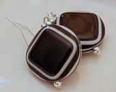 Close Out Sale, Black and White Modern Square Acrylic Earrings on Silver Plated Wires