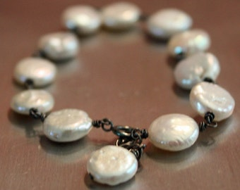 Fresh Water Coin Pearls Hand Twisted on Oxidized Fine Silver
