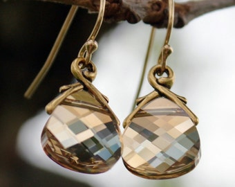Golden Shadow Swarovski Crystal Earrings on 14k Gold Filled French Ear Wires