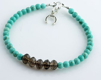 Turquoise, Smokey Quartz and a Horse Shoe Charm Bracelet with Sterling Silver Findings