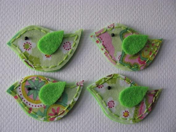 4 Felt and Fabric Green  Spring Bird Appliques