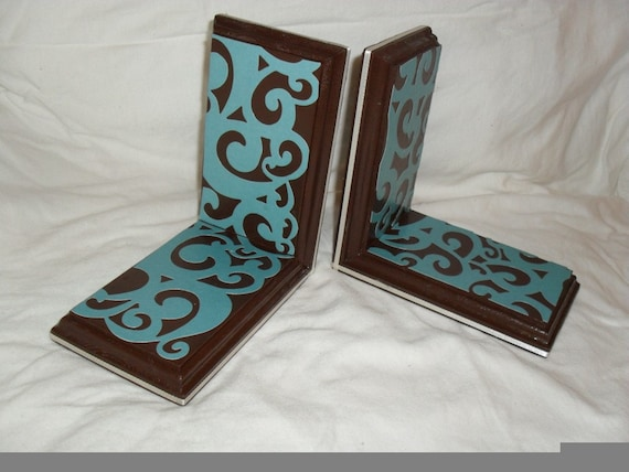 Brown and Teal Swirl Bookends
