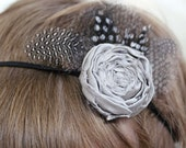 Feather and Rosette 3-6 months Baby Headband