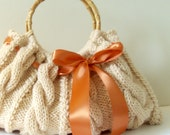 SALE 20% OFF beige Purse with caramel bow, handknit cable Handbag, ready to ship, your choice of ribbon color