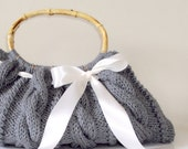 SALE 50% OFF  grey Purse with white bow, handknit cable Handbag, ready to ship, your choice of ribbon color