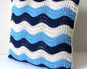 """Blue Wave hand knit Pillow, 100% cotton, sham and insert, 18'x18"""", ready to ship"""