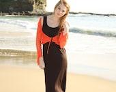 Vintage Orange Blossom Crochet Crop Cardigan Jacket with Tie S M