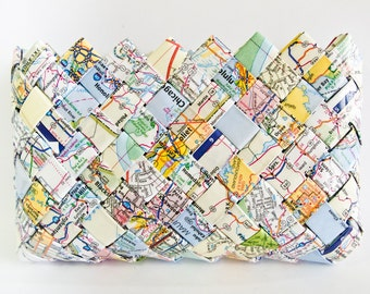 Road Trip Map Makeup Bag/Clutch - Candy Wrapper Style