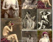 Vintage French Nudes - Digital Collage Ephemera Sheet Download - Buy 2 Get 1