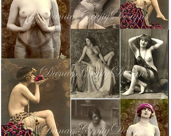 Vintage French Nudes - Digital Collage Ephemera Sheet- Instant Download -Bonus Sheet My Treat