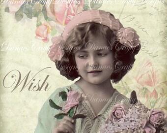 WISH- Instant Digital Download Printable - Victorian Child Collage -VC103- Bonus Sheet My Treat