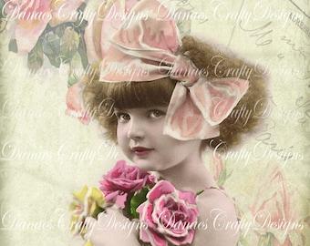FAITH - Victorian Child Instant Digital Download Printable on Vintage Rose Script Background - VC105 - 8.50x11 - Bonus Sheet My Treat