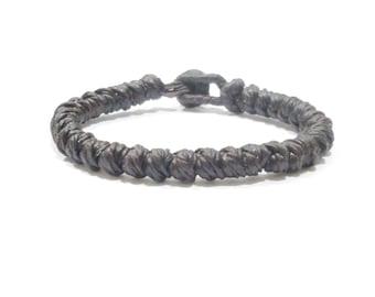 Classic FAIR TRADE Brown Wax Cotton TWIST Knot Thai Buddhist Wristband Bracelet Wristwear