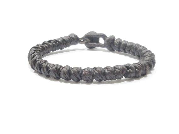 Classic FAIR TRADE Brown Wax Cotton TWIST Knot Thai Buddhist Wristband Bracelet Handmade Wristwear