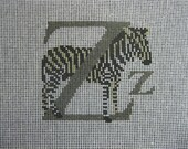 Handpainted Needlepoint Canvas  - Z  is for Zebra