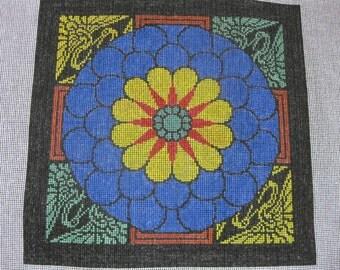 Handpainted Needlepoint Canvas - Chrythanthemum and Cranes - 12 ct