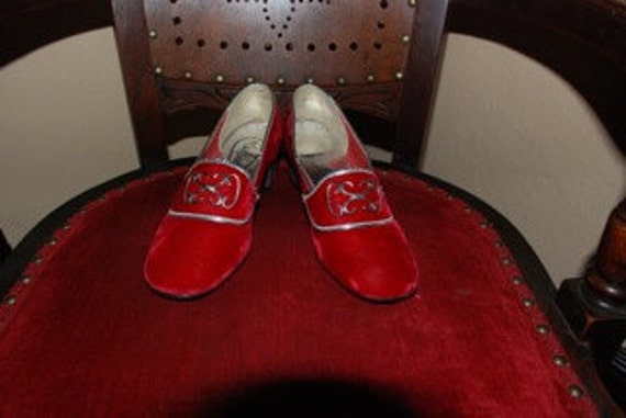 Red Velvet Shoes with Silver Trim