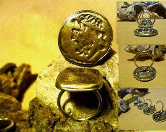 antique coin silver and bras stamp ring
