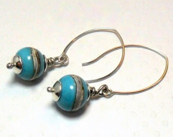Silver Band and Turquoise Earrings