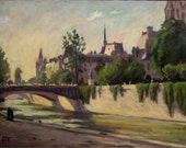Paris, The Seine. Original Oil on Canvas, Impressionist Landscape Painting - wickstromstudio