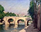 Paris, Île Saint-Louis. Original Oil on Canvas, Impressionist Landscape Painting