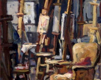 The Long Break, Art Students League of New York. 10x10 Oil Painting on Canvas, Small NYC Realist Interior, Signed Original Fine Art