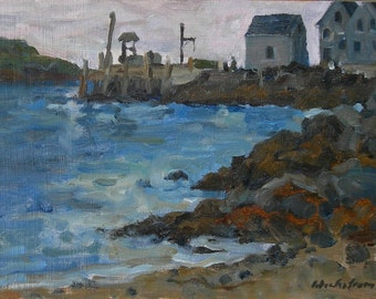 Dusk at the Monhegan Dock, Maine. 7x12 Oil Painting Landscape, Small Original Strip Framed Impressionist Seascape, Signed Original Fine Art