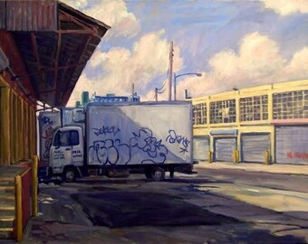 Greenpoint Geometry. NYC Oil Painting Landscape, Large Realist Oil on Canvas, 24x36 Brooklyn Urban Impressionist Fine Art, Signed Original