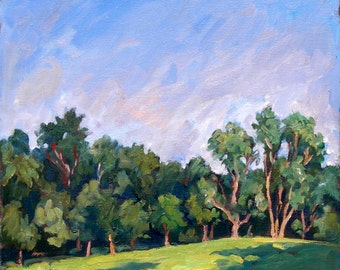 Oil Painting Landscape, Tanglewood Trees. Realist Oil on Canvas, Small 10x10 Impressionist Landscape Painting, Signed Original Fine Art