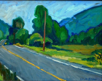 The Yellow Line, Berkshires Road. Realist Oil Painting on Panel, 11x14 American Impressionist Plein Air Landscape, Signed Original Fine Art