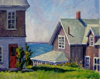 The Bogdanov House, Monhegan, Maine. 12x12 Oil Painting on Canvas, American Impressionist Landscape, Signed Original Realist Seascape