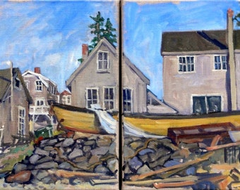 The Long Yellow Boat, Monhegan Diptych. Two 12x12 American Realist Oils, Maine Impressionist Seascape Painting, Signed Original Fine Art