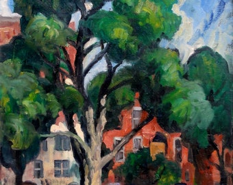 Windy Tree and Brownstones, Albany, New York. Realist Oil on Canvas, 24x18 Strip Framed Impressionist Painting, Signed Original Fine Art